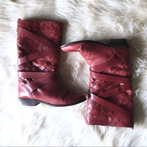 {Vintage} BASS Red Woven Leather Boots Sz 8